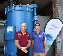 Cr Dwyer and Chris Bray with Caloundra Aquatic Centre new filtration system