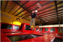 Mayor Mark Jamieson tries out the Big Bounce trampolines (photo courtesy Brian Rogers Photography)