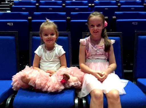 Sasha and Jasmine in the new seats at The Events Centre