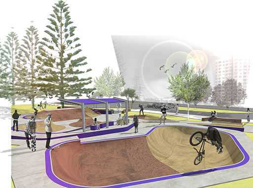 One of two concept images for the Alex Skate Park upgrade
