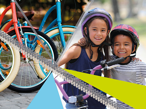 Promotional graphic for Bike Week, including children on bikes