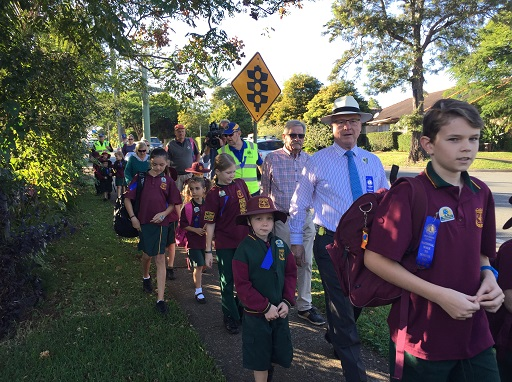 Buderim Mountain State School students set off with Mayor Mark Jamieson for Walk to School Wednesday