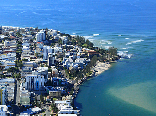 Aerial photograph of Caloundra and the ocean