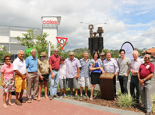 Group gathered at The Mill Tribe monument in Nambour